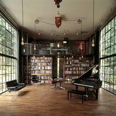 What's better than a dream library? A dream library/music room! Steampunk Interior, Steampunk Home Decor, Library Room, Dream Library, Beautiful Library, Music Library, Future Library, Library Ideas, Music Books