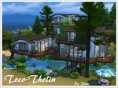 With its 4 bedrooms, Toco-Tholin is a lodge design mainly for grown up sims. There are indeed probably too many stairs for toddler in this tree house... Found in TSR Category 'Sims 4 Residential...