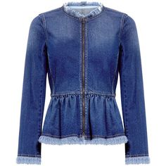 Rebecca Taylor - PEPLUM DENIM JACKET ($350) ❤ liked on Polyvore featuring outerwear, jackets, jean jacket, blue jean jacket, peplum jean jacket, denim jacket and blue jackets