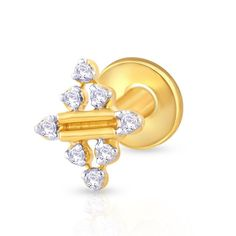 With sparsely kept diamonds, this nose stud is a bit different but very pretty. ,Gold & Diamond Nose Stud For Girls & Women. 18K/14K Gold With Certified Diamonds. Door Delivery