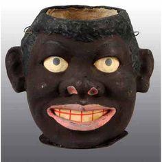 Rare Halloween Black Man's Head Jack-O-Lantern.