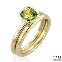 Engagement ring and wedding band by Yael Designs