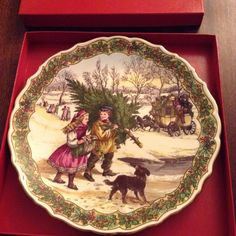 Spode Gathering The Christmas Tree Victorian Themed Plate/ Delightful picture. by MerryLegsandTiptoes on Etsy