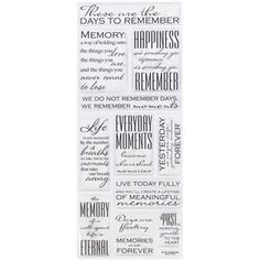 Bubbleabilities by the Paper Studio Clear & Black Memories Quotes Epoxy Stickers | Shop Hobby Lobby