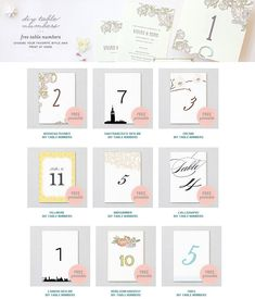FREE DIY Printable Wedding Table Numbers - Perfect for the DIY Bride!