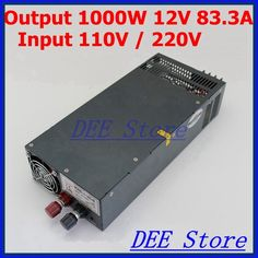 107.90$  Watch now - http://alijwt.worldwells.pw/go.php?t=32247871257 - Led driver 1000W 12V 83.3A ac 110v/220v to dc 12v Single Output Switching power supply unit for LED Strip light