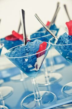 "Blue Jell-0 with Swedish Fish.  For kids it would be cute in small clear plastic cups with the fish ""swimming"" in the Jell-O. Must try this for Mermaid  Birthday Pool Party"