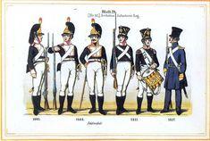 Plate 29: 6th Infantry Regiment, 1803-1817 by Leo Ignaz von Stadlinger - Geschichte des württembergischen Kriegswesens - Uniforms of the troops of Württemberg