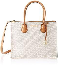 Michael Kors Handbag, the Ultimate present you can't go wrong with! 30S7GM9T3V Womens Mercer Tote White (Vanilla) #fashion #handbags #tote #totebag #michaelkors