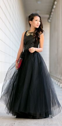 #Noir :: #Leather #Panels & #Maxi #Tulle #Skirt by Wendy's Lookbook