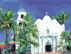 Immaculate Church, Old Town San Diego California, Painting by RD Riccoboni Old Town San Diego, Landscape Art, Southern California, Geology, Spanish, Art Gallery, Art Deco, Paintings, Store