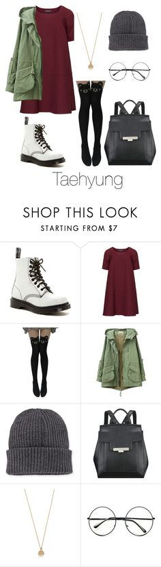"""""""Taehyung Inspired w/ Dr. Martens"""" by btsoutfits ❤ liked on Polyvore featuring Dr. Martens, Manon Baptiste, Moncler, Nine West, Bing Bang and Retrò"""