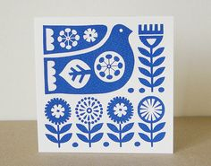 Blank Greeting Card Scandinavian Swedish Bird Flower Retro 50s 60s Screen Print Blue Modern