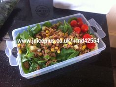 Ideal for Juice Plus meal plan. Tuna salad with spinach and cherry tomatoes.