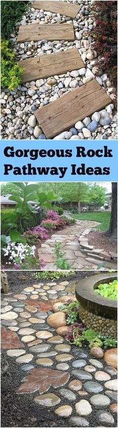 Rock pathways, pathway ideas, landscaping hacks, gardening, rock landscaping, DIY rock pathway, gardening pathway, popular pin, outdoor living, outdoor landscaping.  #landscapingdiy