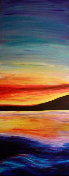Ocean Sunset Acrylic Painting on 16x40 inch on by Bexterart, $225.00