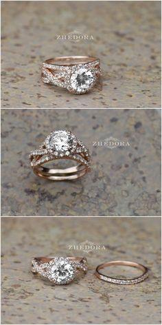 2.35 CT Round Cut Engagement Ring band set in Solid 14k or 18k Rose Gold Bridal, Wedding Set , Engagement Set