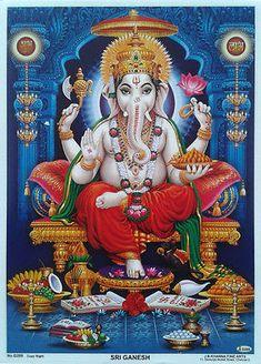 Auspicious Lord Ganesha Hindu God poster-reprint on paper inches) Sri Ganesh, Ganesh Lord, Shiva Hindu, Shiva Art, Ganesha Art, Hindu Deities, Krishna Art, Hindu Art, Ganesha Tattoo
