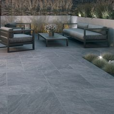 Bradstone, Aspero Porcelain Paving Dark Grey Patio Pack - 18.36 m2 Per Pack
