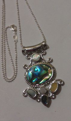 Abalone and Othedr Sea Shells set in Sterling Silver and Hangs from a 22 inch Ball Bead Sterling Chain!