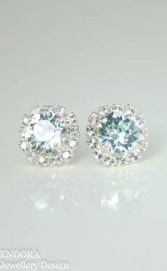 Swarovski Light azore crystal stud earrings | duck egg blue wedding | ice blue wedding | www.endorajewellery.etsy.com | robins egg blue wedding