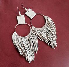 Diy Leather Fringe Earrings, Diy Macrame Earrings, Tassel Jewelry, Leather Tassel, Earrings Handmade, Tassel Earrings, Handmade Leather Jewelry, Fabric Earrings, Rustic Jewelry