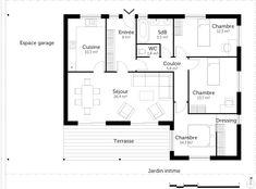 rsultat de recherche dimages pour plan maison 3 chambres plain pieds 90m2 - Plan Maison 90m2 Plain Pied
