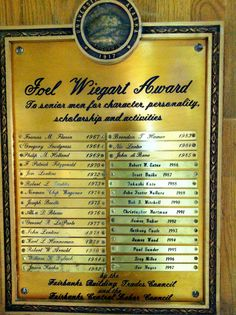 Wiegart award plaque