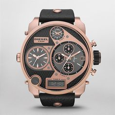 A versatile Men's sport watch styled with trendy rose-gold hues from Diesel. - Black leather strap with screw detail - Round brushed and polished rose-gold-tone stainless steel case - 57mm - Cut cryst