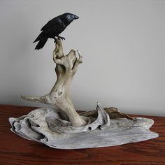 2824SM | Solitary Raven driftwood and Ebony sculpture. The R… | Flickr