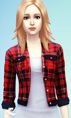 Sims 4 Updates : Red Plaid Jacket at JC's Sims 4
