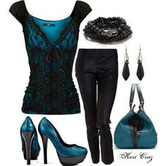Black and teal smart casual  eve