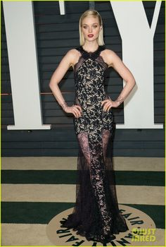 Bella Heathcote is drop-dead-gorgeous in sheer embroidered lace Emilio Pucci gown | Vanity Fair 2015 Oscar Party