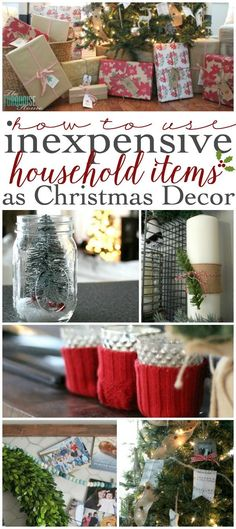LOVE these simple ideas for using regular, everyday items as Christmas decor. More ideas at http://TheTurquoiseHome.com