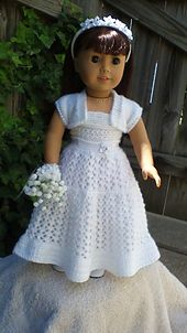 22 Top Down Wedding Dress pattern by Jacqueline Gibb American Girl Doll Top Down Wedding Dress. Crochet Wedding Dresses, Diy Wedding Dress, Wedding Dress Patterns, Crochet Doll Dress, Crochet Barbie Clothes, Knitting Dolls Clothes, Ag Doll Clothes, American Girl Crochet, American Girls