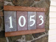 DIY Hand Made Address Plaque with Glowing Numbers & Secret Compartment! House Address Numbers, Address Plaque, House Numbers, Address Signs, Router Projects, Tile Projects, Fun Projects, Primitive Wood Crafts, Wood Craft Patterns
