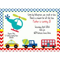 Transportation Birthday Party Invitation | Kids Birthday Invitations | Girls Invitations | Childrens Party Invitations | Boys Birthday Invites | helicopter car bus truck | KBI266
