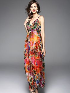 [ad] The Orange Floral Printed Maxi Beach Dress is perfect for those tropical getaways!