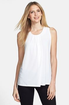 Anne Klein Sleeveless Asymmetric Pleat Top | Nordstrom