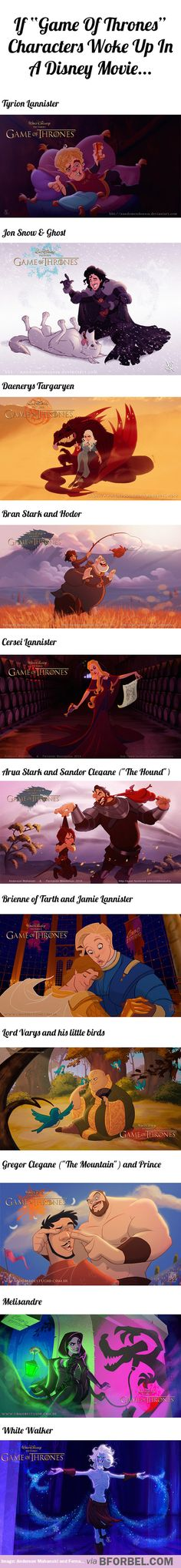 "If ""Game Of Thrones"" characters woke up in a Disney Movie…"