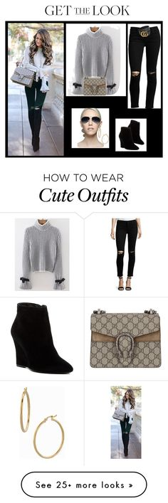"""""""Get The Look"""" by catsanddogs-563 on Polyvore featuring Joie, Gucci, Bony Levy, DL1961 Premium Denim, Cutler and Gross, GetTheLook, Wedge and Bell"""