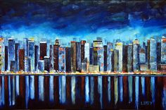 Original NYC art palette knife paintings in oil by by PaletteKnifeArt,