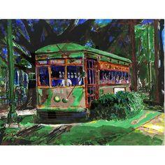 Fig Street Art Studio postcard of painting of St Charles Streetcar in New Orleans, Gender: unisex. New Orleans Christmas, Louisiana Art, New Orleans Art, Local Artists, Custom Posters, American Artists, Art Studios, Painting Prints, Paintings
