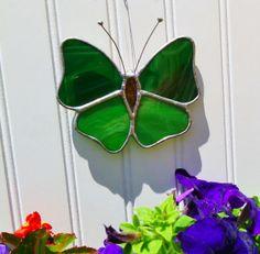 Handmade Stained Glass Butterfly Sun Catcher - Green.
