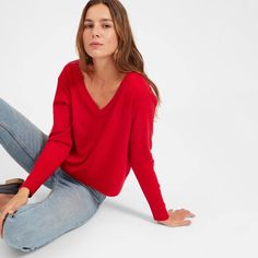 The Cashmere Crop V-Neck. A forward take on a classic. This V-neck sweater is made from premium Grade-A cashmere with a slightly cropped relaxed fit for an updated look