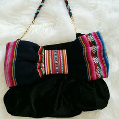 SALE  Black Velvet Bag with Colorful Bow Gorgeous Black Velvet Bag with Striped colorful Bow. Satin inside chain and braided handle 14Wx 9H And A Bags