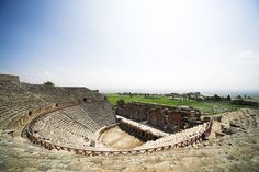 Ancient amphitheater near Pamukkale in Hierapolis, Turkey Turkey Photos, Beautiful Places To Visit, Amazing Places, Pamukkale, Turkey Travel, World Heritage Sites, Ancient History, Archaeology, The Good Place