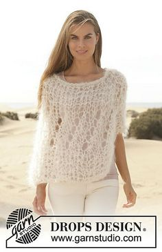 Hand Knitted summer poncho in mohair for women