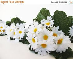 SALE 10 Silk Daisies Bushes Artificial Flowers Bouquets Bush White Green Leaves Floral Accessories Flower Supplies Faux Fabric DIY Wedding (13.50 USD) by Flowersfield