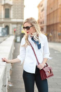 white button down shirt with Ferragamo silk scarf, how to tie silk scarf neckerchief, oxblood YSL high school bag, Adriano Goldschmied dark stilt cigarette, classic style